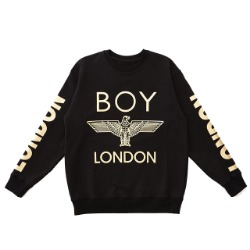 LONDON Printed on Sleeves Sweatshirt -BLACK