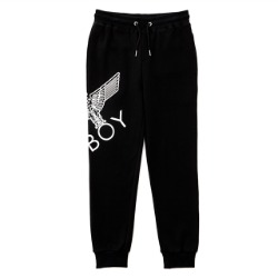 Eagle Artwork Cross Printed Jogger-BLACK-WHITE