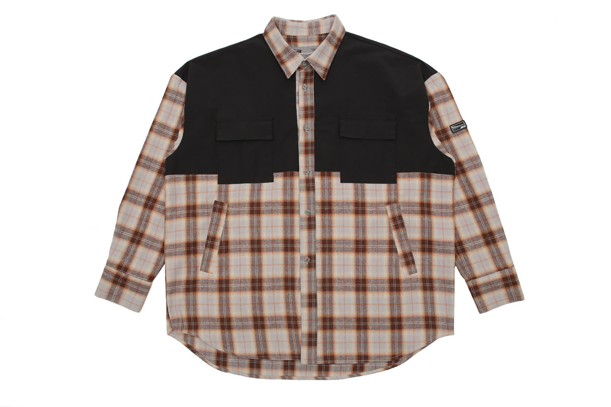 【APPARELXIT】UNISEX TECH CHECK SHIRTS BROWN ユニセックテックチェックシャツ ブラウン