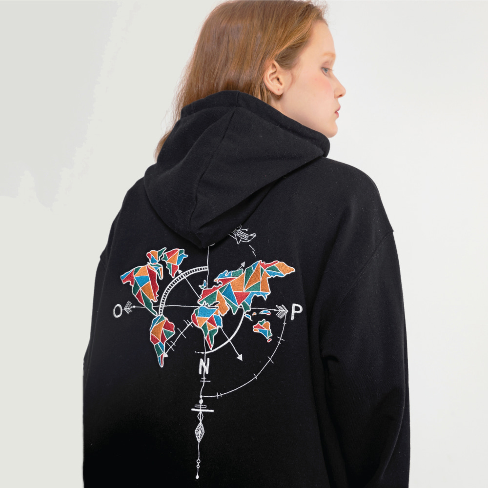 【COMPAGNO】STAINED GLASS MAPS HOOD BLACK ステインドグラスマップス フーディー ブラック