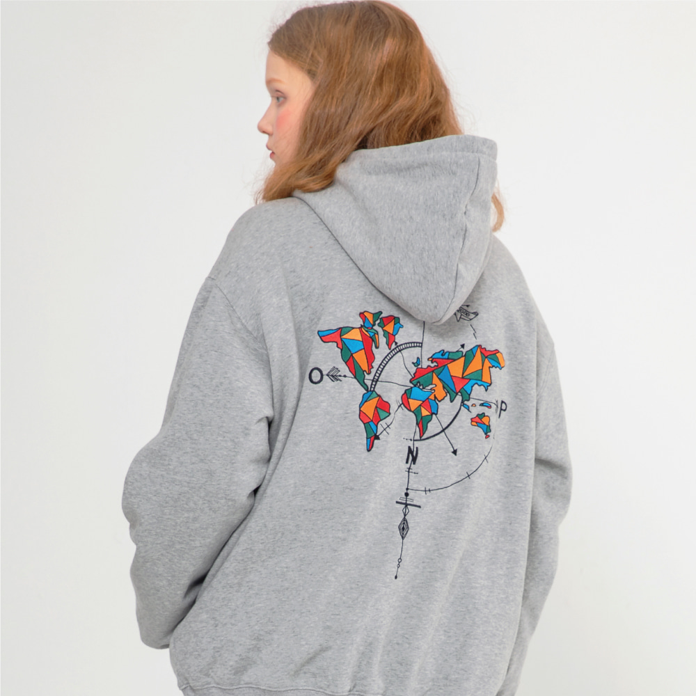 【COMPAGNO】STAINED GLASS MAPS HOOD GRAY ステインドグラスマップス フーディー グレー