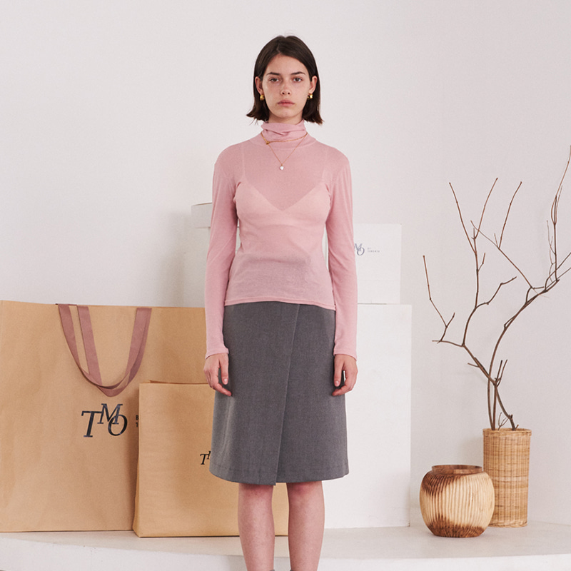 【TMO BY 13MONTH】SEE-THROUGH TURTLENECK T-SHIRT PINK シースルータートルネックTシャツ ピンク