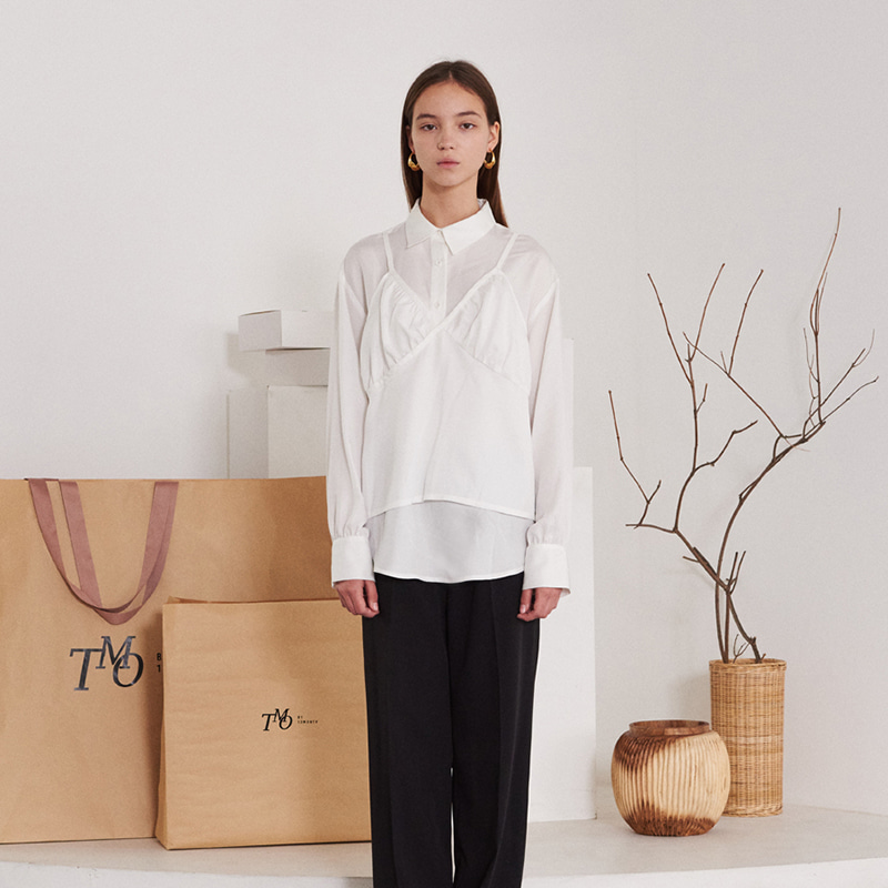 【TMO BY 13MONTH】LONG SLEEVE VEST SHIRT WHITE ロングスリーブベストシャツ ホワイト
