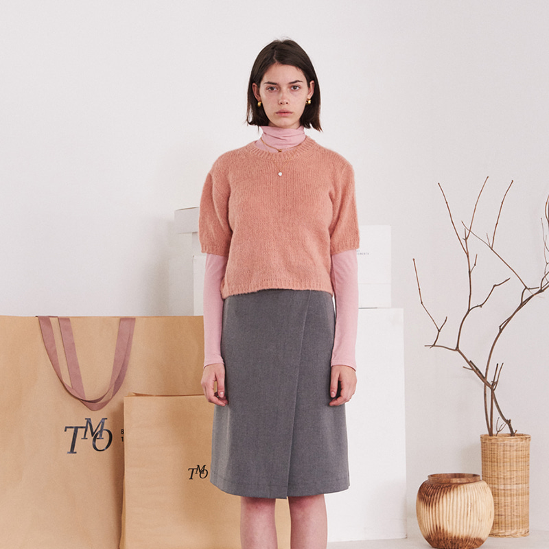 【TMO BY 13MONTH】ROUND NECK KNIT SWEATER PINK ラウンドネックニットセーター ピンク