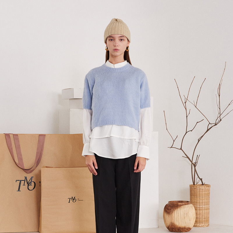 【TMO BY 13MONTH】ROUND NECK KNIT SWEATER BLUE ラウンドネックニットセーター ブルー