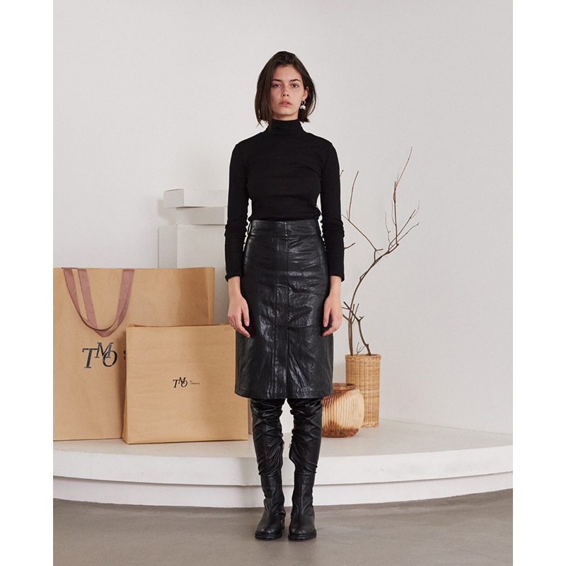 【TMO BY 13MONTH】TWO POCKET LEATHER SKIRT BLACK 2ポケットレザースカート ブラック