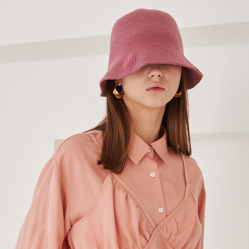 【TMO BY 13MONTH】FELT BUCKET HAT WITH LOGO PINK フェルトバケットハットWITHロゴ ピンク