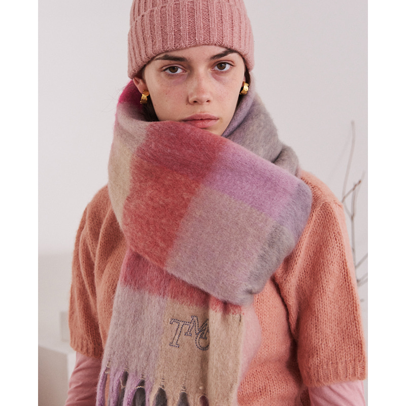 【TMO BY 13MONTH】MULTI TONE RECTANGLE SCARF PINK マルチトーンレクタングルスカーフ ピンク