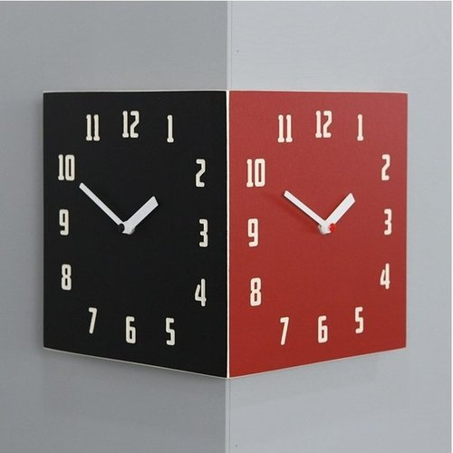 電波両面時計  Morden Retro Corner Clock (Black&Red)