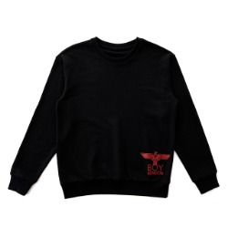 Eagle Printed on Right Front Sweatshirt -BLACK