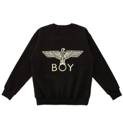 【SALE 20%OFF】GOLD Eagle BOY Brushed Sweatshirt-BLACK-GOLD