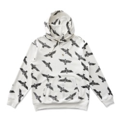 Eagle Patterned  Hoodie - WHITE