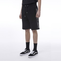 Color Block Woven Jersey Shorts-BLACK