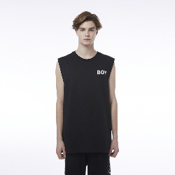 Eagle and Square Detail Sleeveless T-Shirt - BLACK