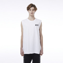 Eagle and Square Detail Sleeveless T-Shirt - WHITE