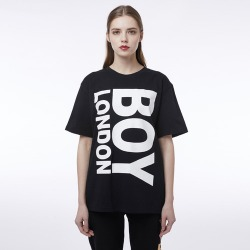 BOYLONDON Vertical Printed Short Sleeves Tee BLACK