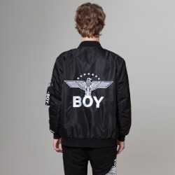 【SALE 20%OFF】Star Eagle Artwork on Back Bomber Jacket - BLACK