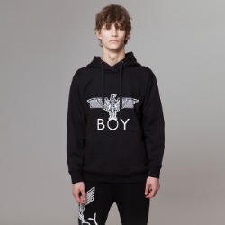 BOY Eagle Printed on Pocket Hoodie - BLACK