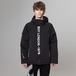 【SALE 20%OFF】BOYLONDON Mid-length Hooded Jacket - BLACK