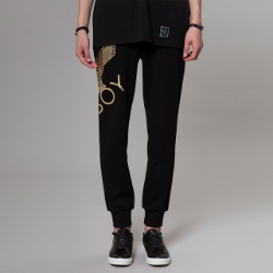 Eagle Artwork Cross Printed Jogger BLACK-GOLD