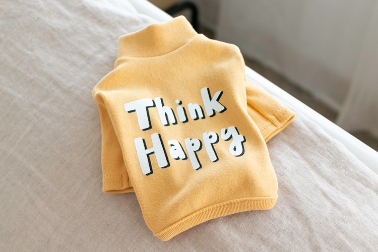 Think Happy Tee / Mustard