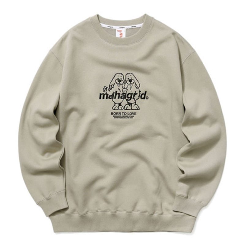 韓国ブランド「mahagrid」のTWIN DOGGY SWEATSHIRT[BEIGE]