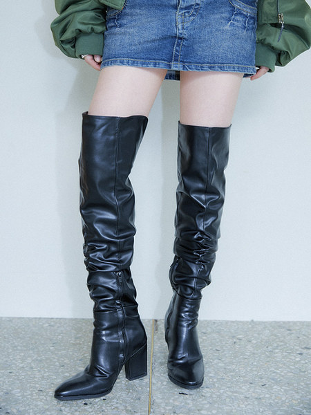Synthetic leather wrinkle thigh-high boots (3 color)