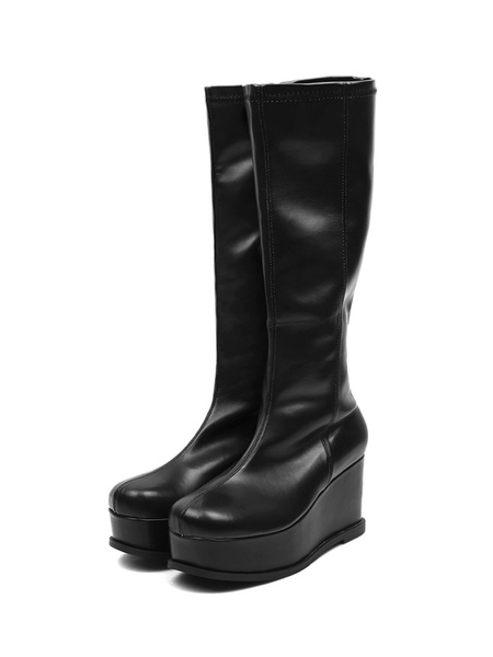 ACIDITY - PLATFORM SYNTHETIC LEATHER LONG BOOTS (BLACK)