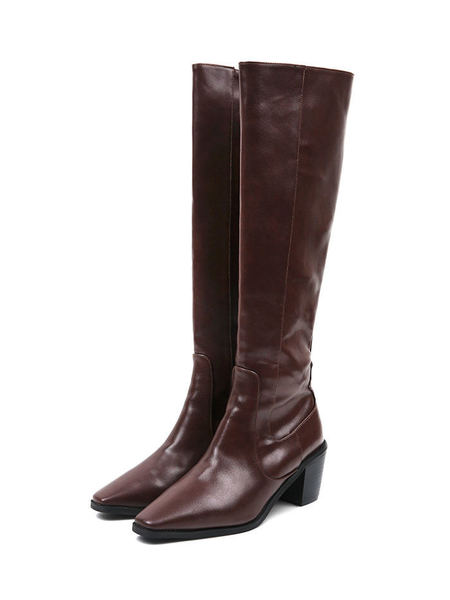 leather slim long boots (2 color)