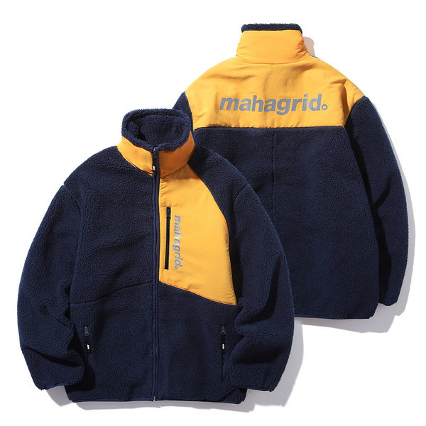 韓国ブランド「mahagrid」のHEAVY FLEECE JACKET[NAVY]