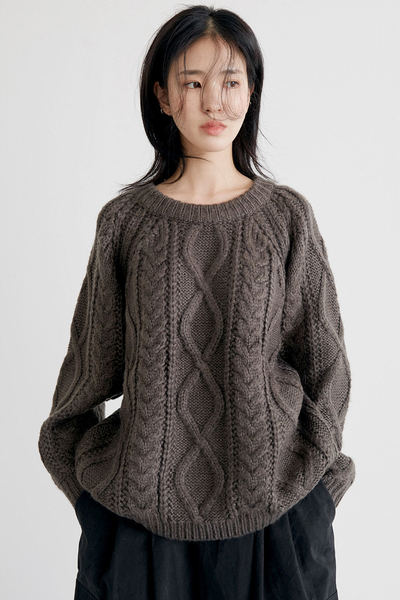 cable loose sweater (3colors)