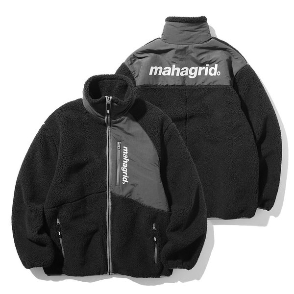 韓国ブランド「mahagrid」のHEAVY FLEECE JACKET[BLACK]
