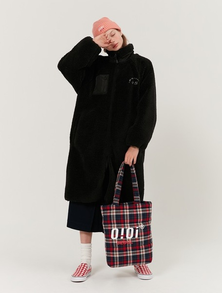 韓国ブランド「5252 by oioi」のLONG FLEECE JACKET_black