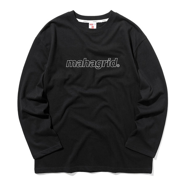 韓国ブランド「mahagrid」のOUTLINE LOGO LS TEE[BLACK]