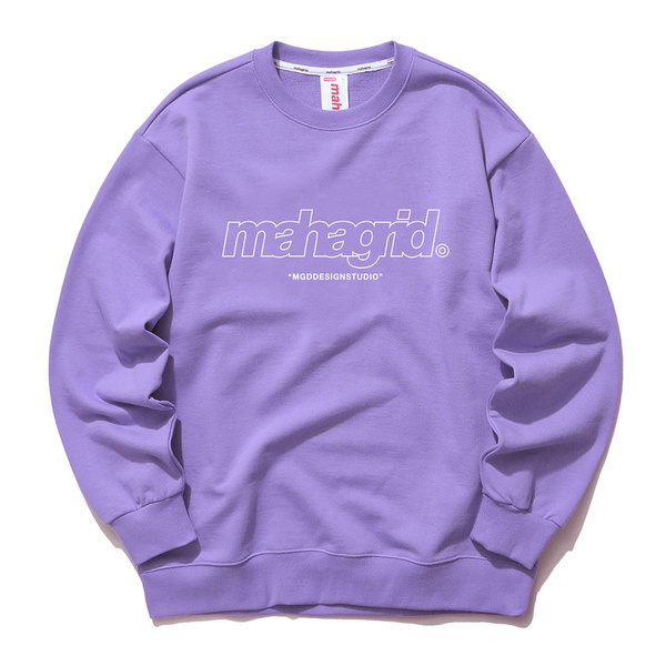 韓国ブランド「mahagrid」のTHIRD LOGO CREWNECK[PURPLE]