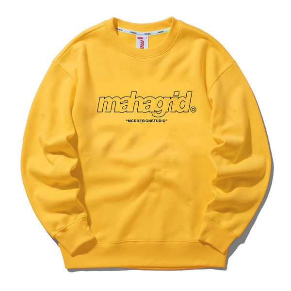 韓国ブランド「mahagrid」のTHIRD LOGO CREWNECK[YELLOW]