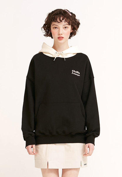 韓国ブランド「CLOTTY」の【GFRIEND オムジさん着用】CLOVER COLOR BLOCK HOODIE[BLACK]