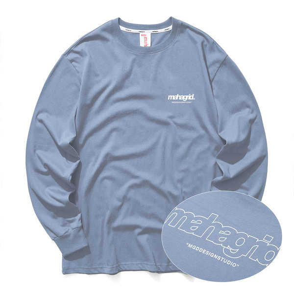 韓国ブランド「mahagrid」のBACK THIRD LOGO LS TEE[BLUE]