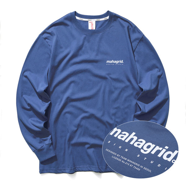 韓国ブランド「mahagrid」のBACK ORIGIN LOGO LS TEE[NAVY]