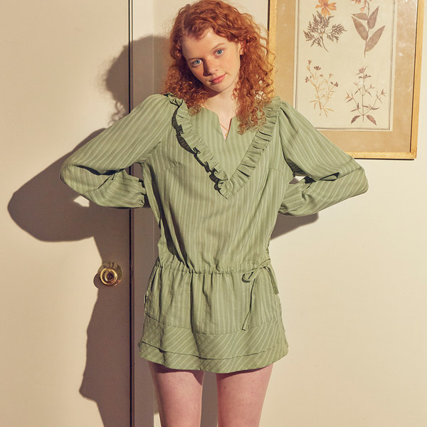 韓国ブランド「SALON DE YOHN」のRuffle Cotton Blouse_ Green