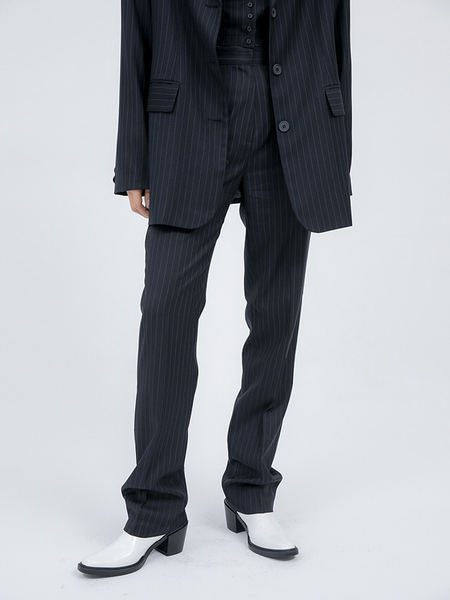 韓国ブランド「OPEN THE DOOR」のregular-fit stripe slacks - woman