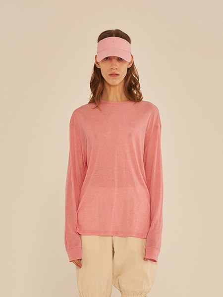 韓国ブランド「13MONTH」のLONG SLEEVE SEE-THROUGH T-SHIRT (PINK)