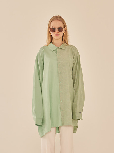 韓国ブランド「13MONTH」のOVERSIZE HALF AND HALF SHIRT (GREEN)