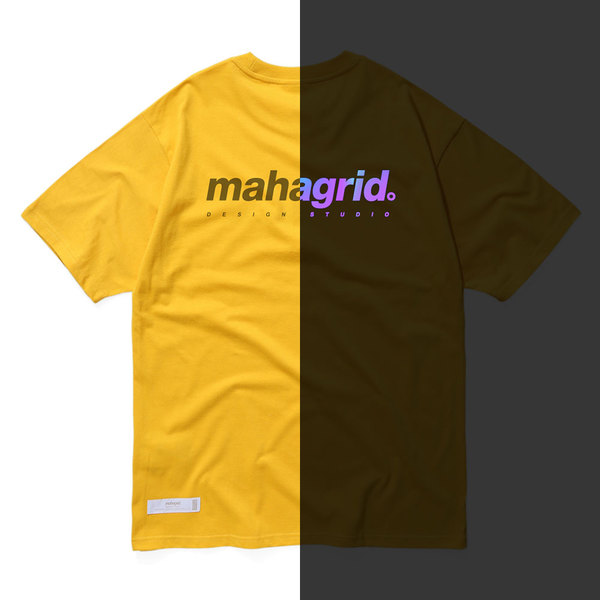 韓国ブランド「mahagrid」のRAINBOW REFLECTIVE LOGO TEE[YELLOW]
