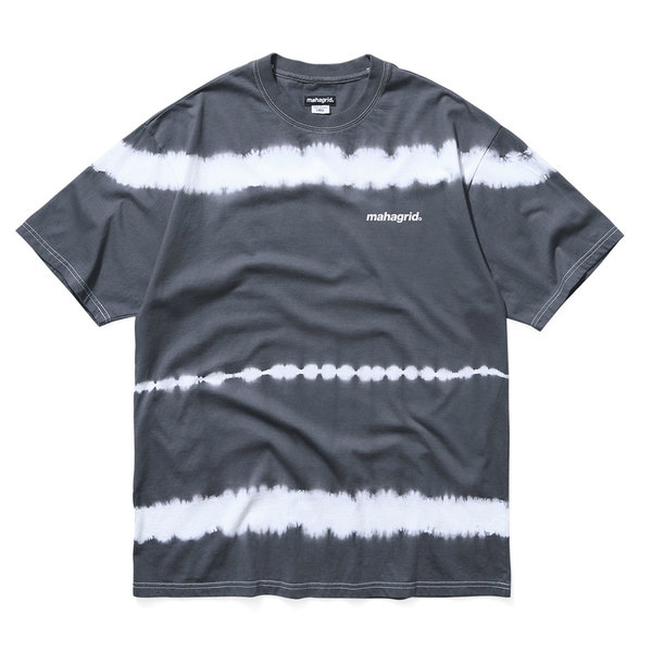 韓国ブランド「mahagrid」のTIEDYE STRIPED TEE[CHARCOAL]