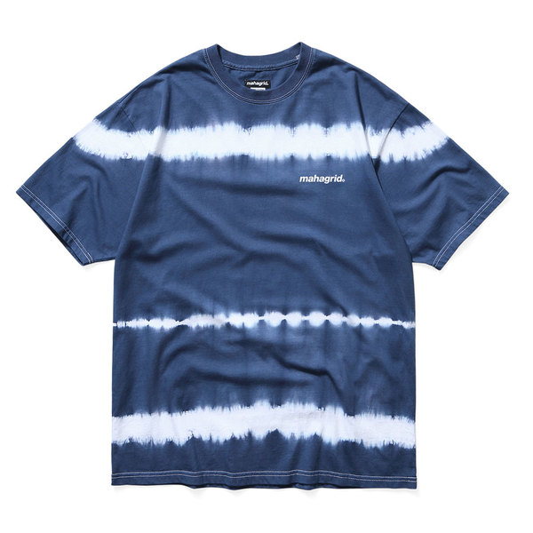 韓国ブランド「mahagrid」のTIEDYE STRIPED TEE[NAVY]