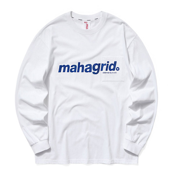 韓国ブランド「mahagrid」のLOGO POCKET LS TEE[WHITE]