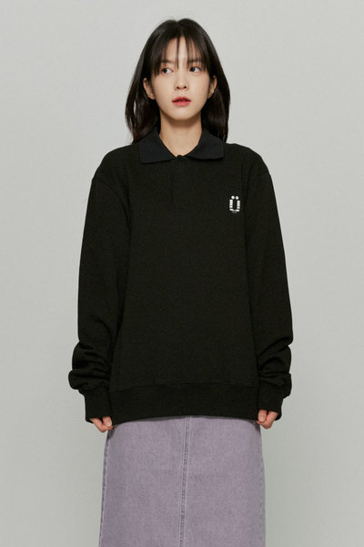 韓国ブランド「ISTKUNST」のPOLO SWEATSHIRTS[BLACK]