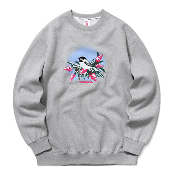 韓国ブランド「mahagrid」のBIRD AND FLOWER SWEATSHIRT[GREY]
