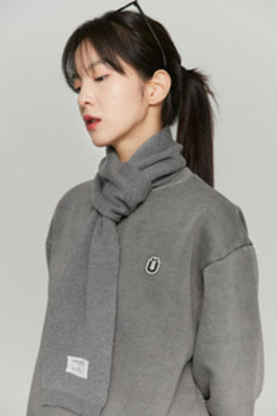韓国ブランド「ISTKUNST」のLABEL SOFT WOOL MUFFLER[GREY]